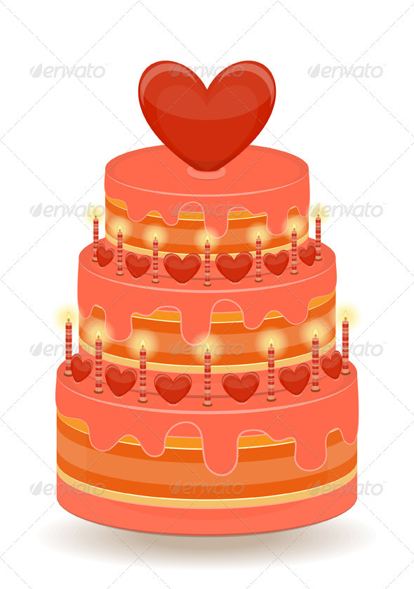 GraphicRiver Valentines Cake on White Background 3559911