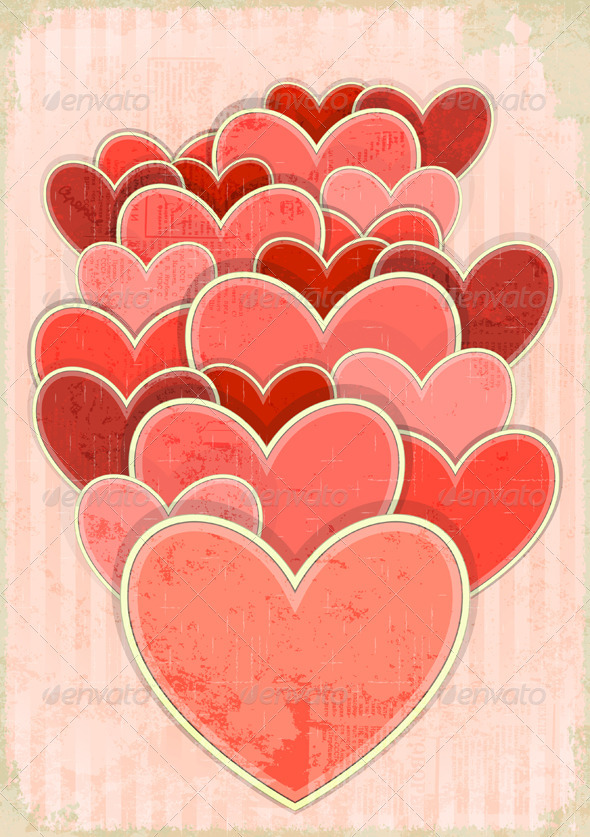GraphicRiver Retro Valentines Day Card with Hearts 3559913