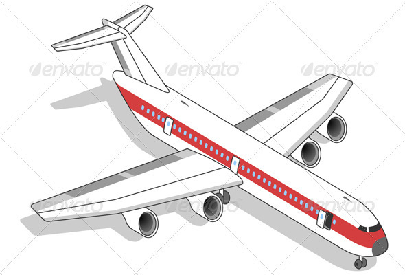 GraphicRiver Isometric White Airplane with Red Stripe 3559980