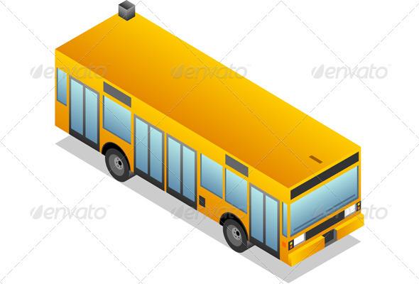 GraphicRiver Isometric Yellow Bus 3559988