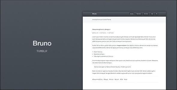 ThemeForest Bruno A Clean & Concise Tumblr Theme 3537728