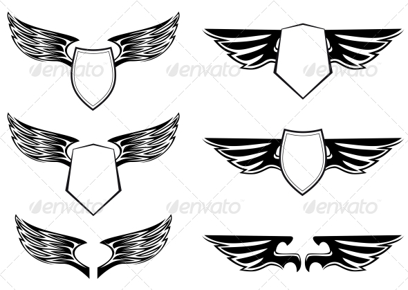 GraphicRiver Heraldic Wings with Shields 3561119