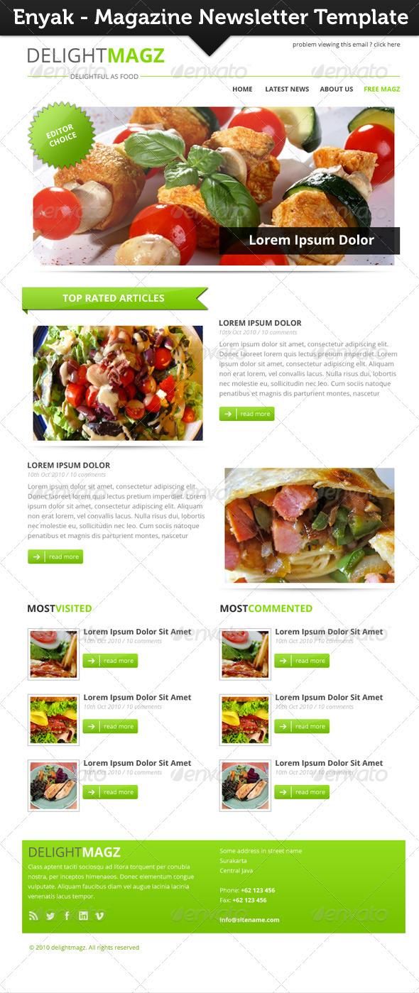 Enyak Newsletter - E-newsletters Web Elements