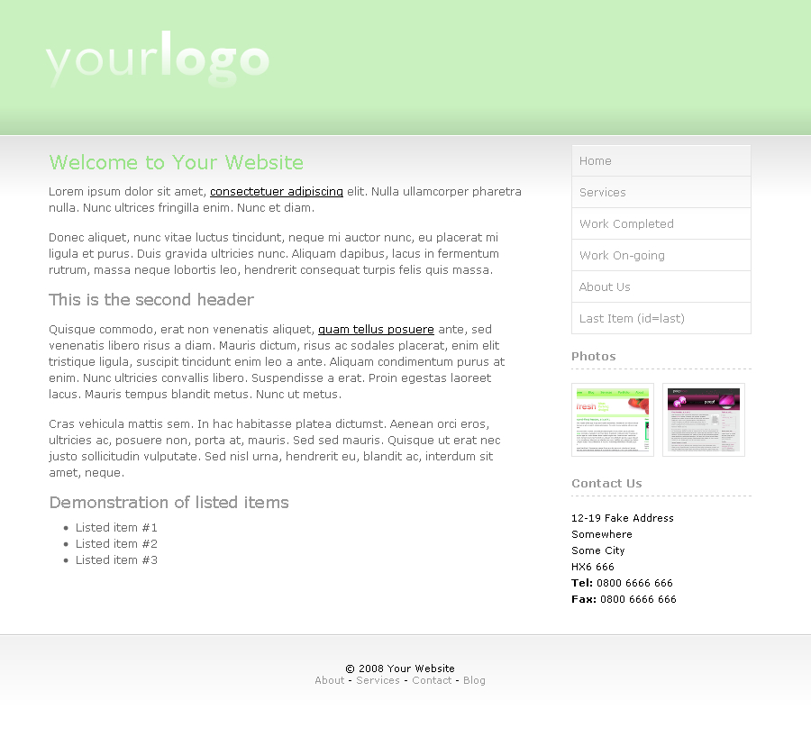 Light & Green - Main template for homepage and sub-pages.  Clean grey and green.