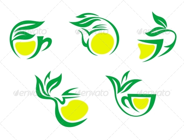 GraphicRiver Tea Cups Symbols with Lemon and Green Leaves 3561750