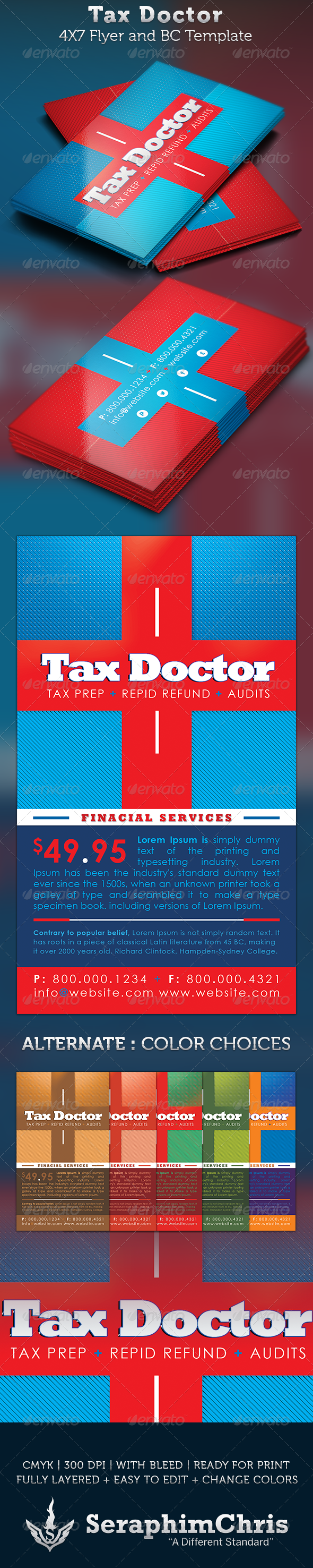 GraphicRiver Tax Doctor Business Card and Flyer Template 3562030
