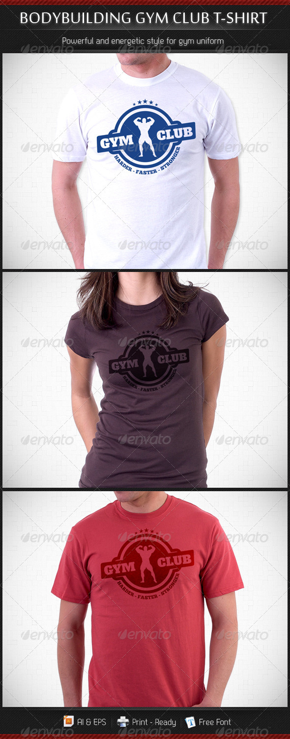 Bodybuilding Gym Club T-Shirt Template - Sports & Teams T-Shirts