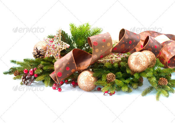 Christmas Decorations Isolated on White Background - Stock Photo - Images