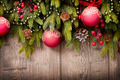 Christmas Over Wooden Background. Decorations over Wood - PhotoDune Item for Sale