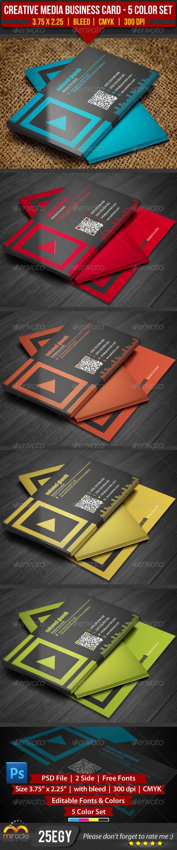 GraphicRiver Creative Media Business Card 5 Color Set 3563713
