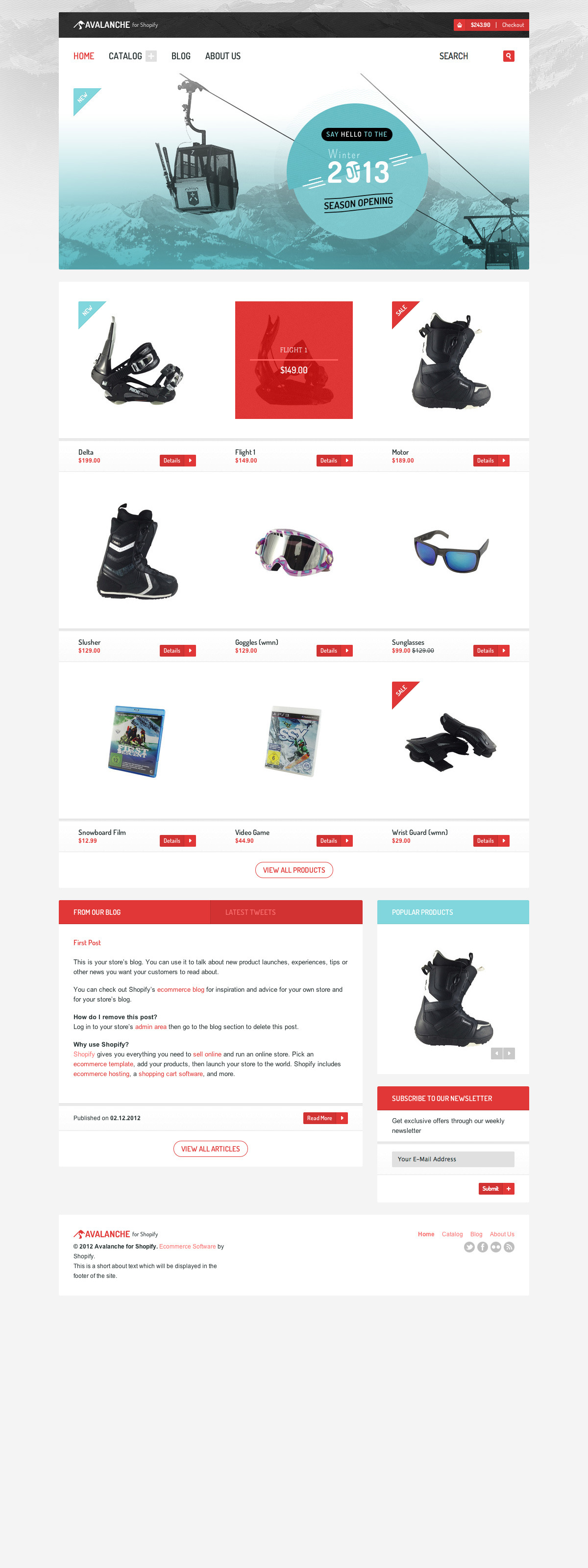 Avalanche for Shopify — Responsive Premium Theme - The homepage as it would appear in a normal desktop browser.