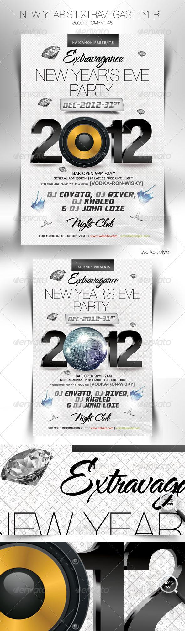Flyer Evento de Año Nuevo en Blanco