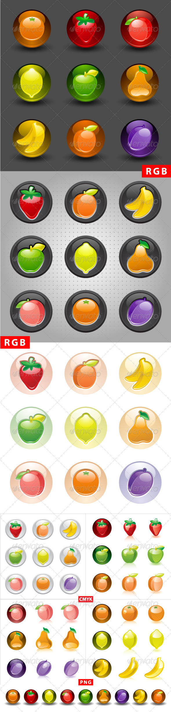GraphicRiver Fruit buttons web 2.0 icons 3564252