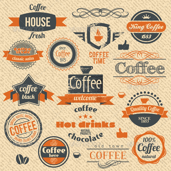 GraphicRiver Coffee Stamps and Label Design 3519573