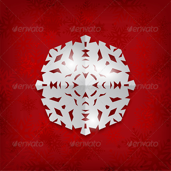 GraphicRiver Paper Snowflake Background 3564743