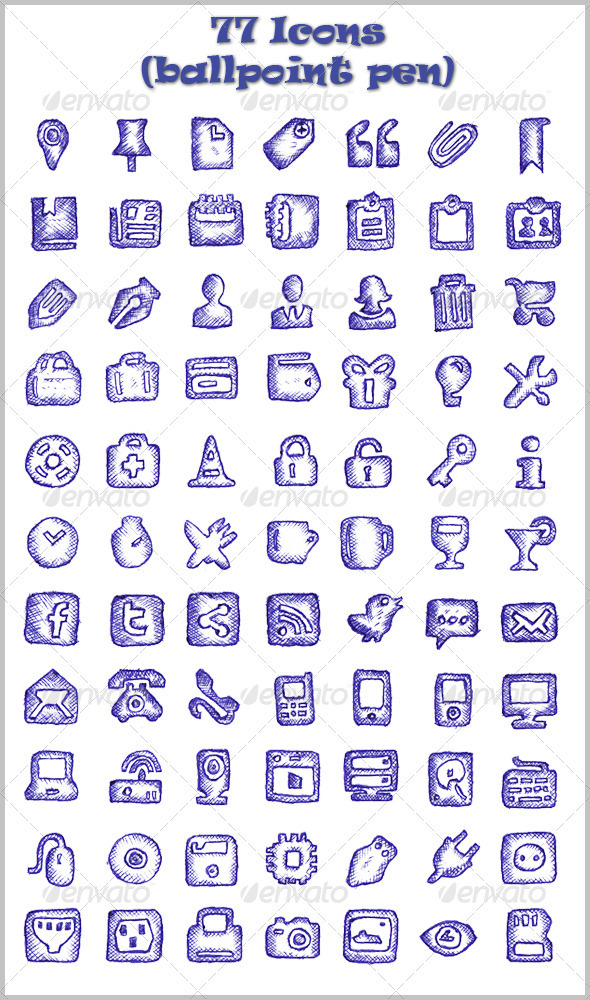77 Icons (Ballpoint Pen) - Web Icons