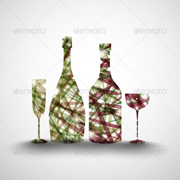 Bottles and Glasses - Backgrounds Decorative