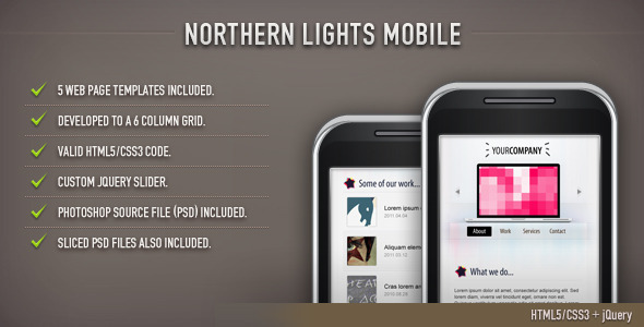Northern Lights HTML Template (Mobile) - Mobile Site Templates
