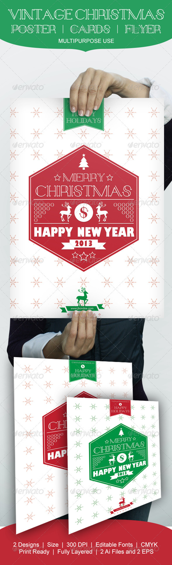 GraphicRiver Vintage Christmas Poster Cards Flyer 3566803