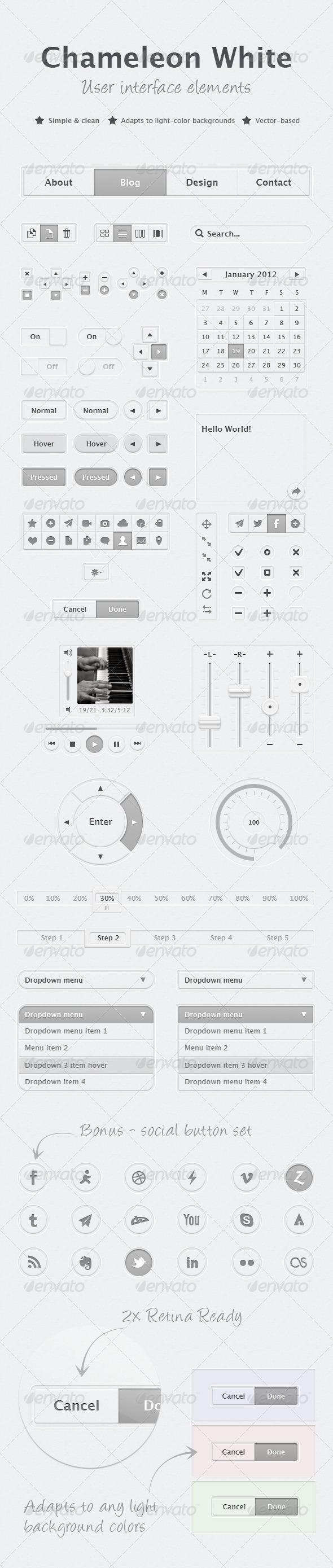 GraphicRiver Chameleon White UI Kit 3534437