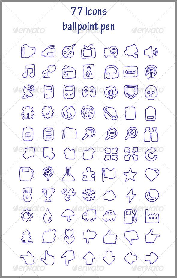 GraphicRiver 77 Icons ballpoint pen 3567214