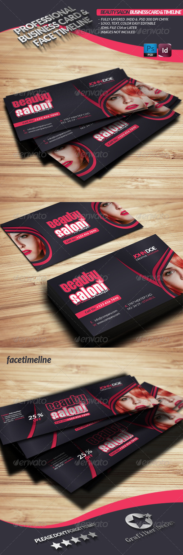 GraphicRiver Beauty Salon Business Card Face Timeline 3567481