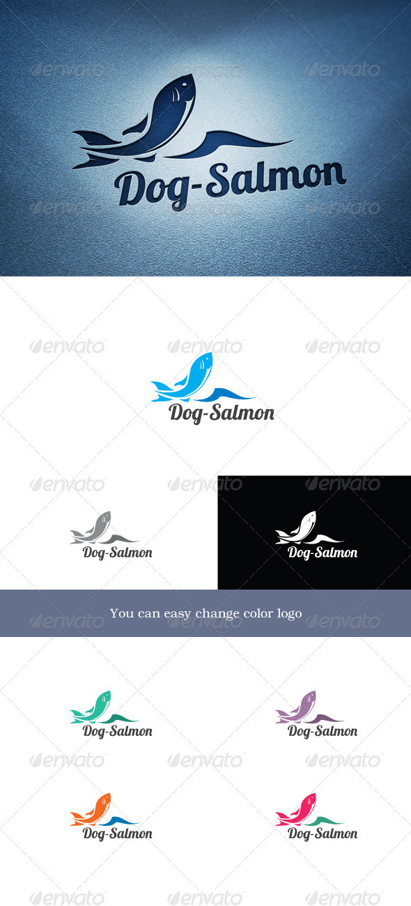 Dog-Salmon - Animals Logo Templates