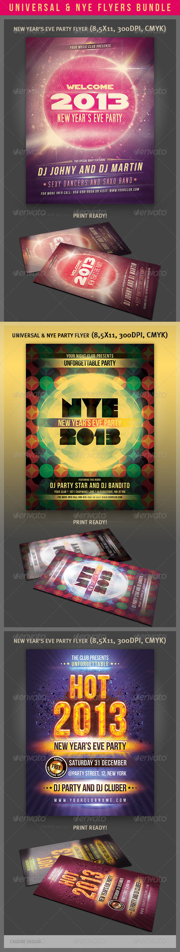 GraphicRiver Universal & NYE Party Flyers Bundle 3567771
