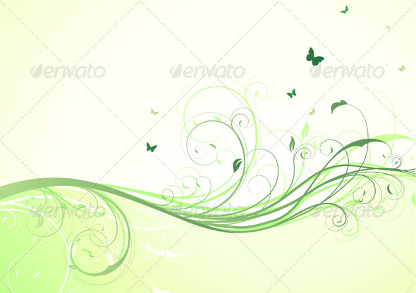 GraphicRiver Green Floral Background 3568289