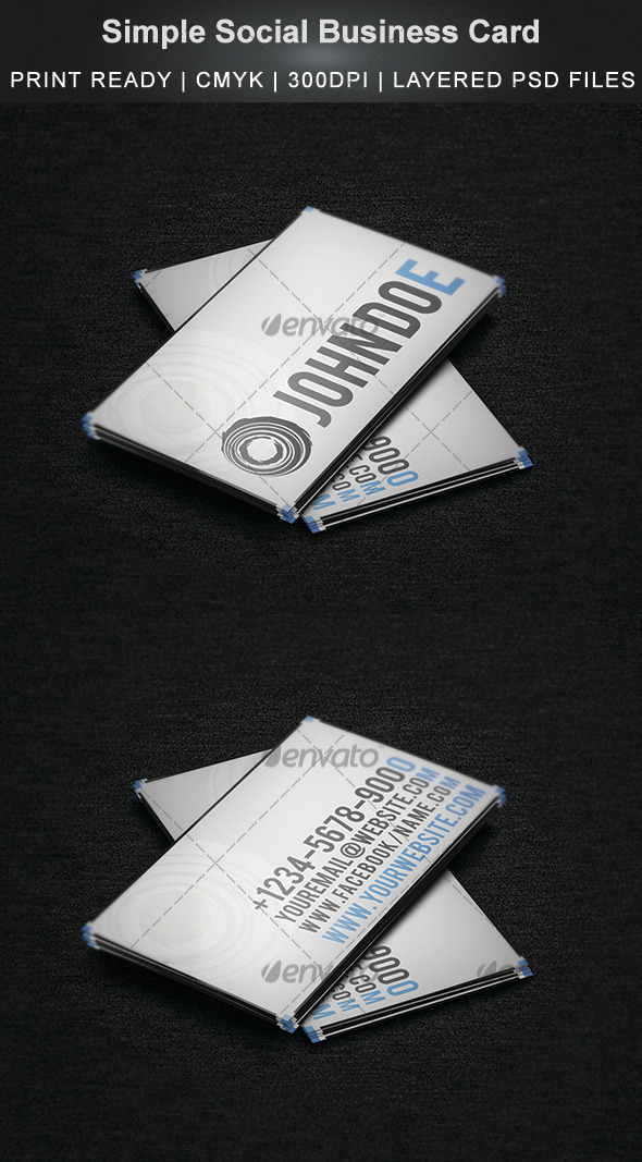 GraphicRiver Simple Social Business Card 3514106