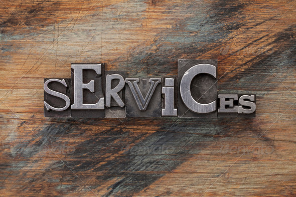 services word in metal type blocks - Stock Photo - Images