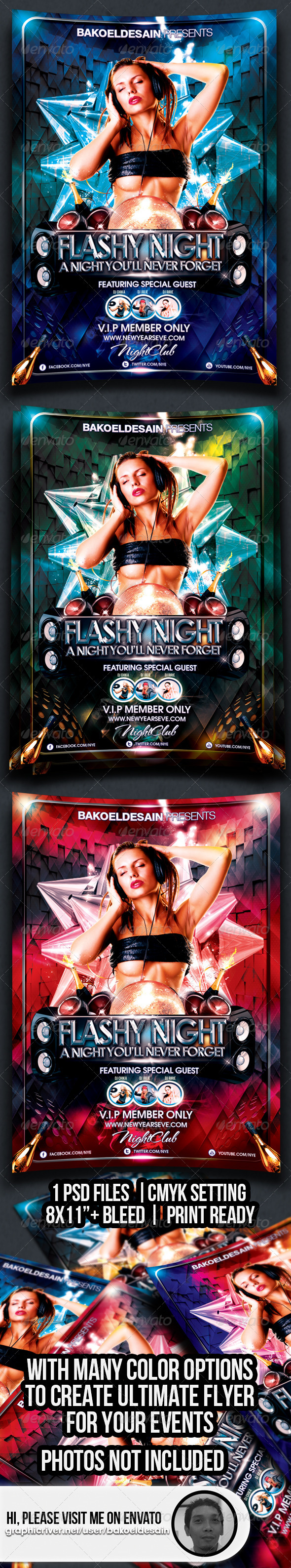GraphicRiver Flashy Night Party Flyer 3568994
