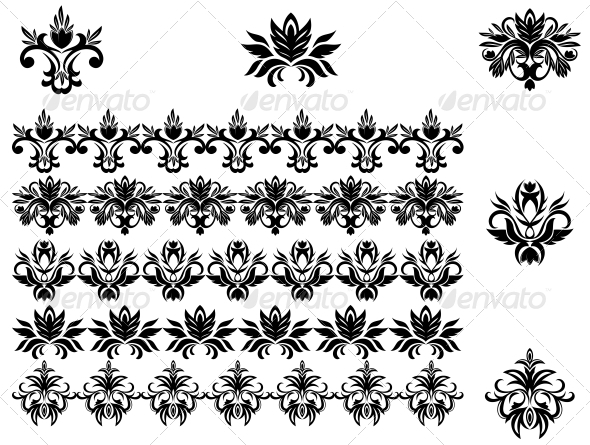 GraphicRiver Flower Patterns and Borders 3569108