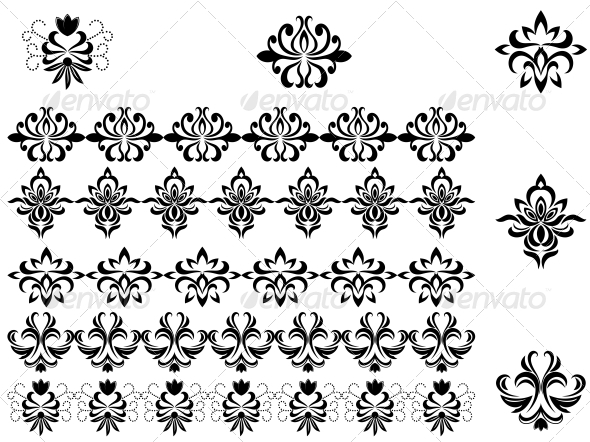 GraphicRiver Flower Patterns and Borders 3569111
