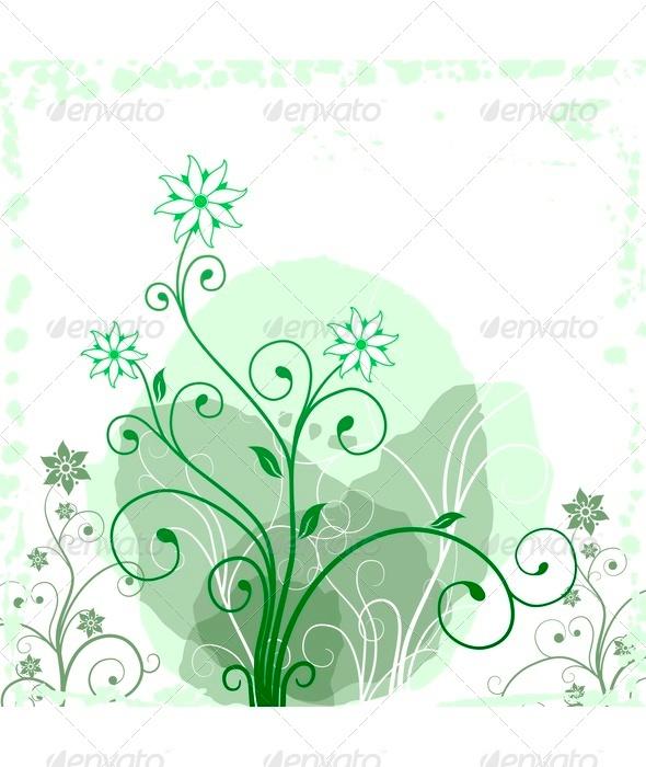 Green Grunge Flower