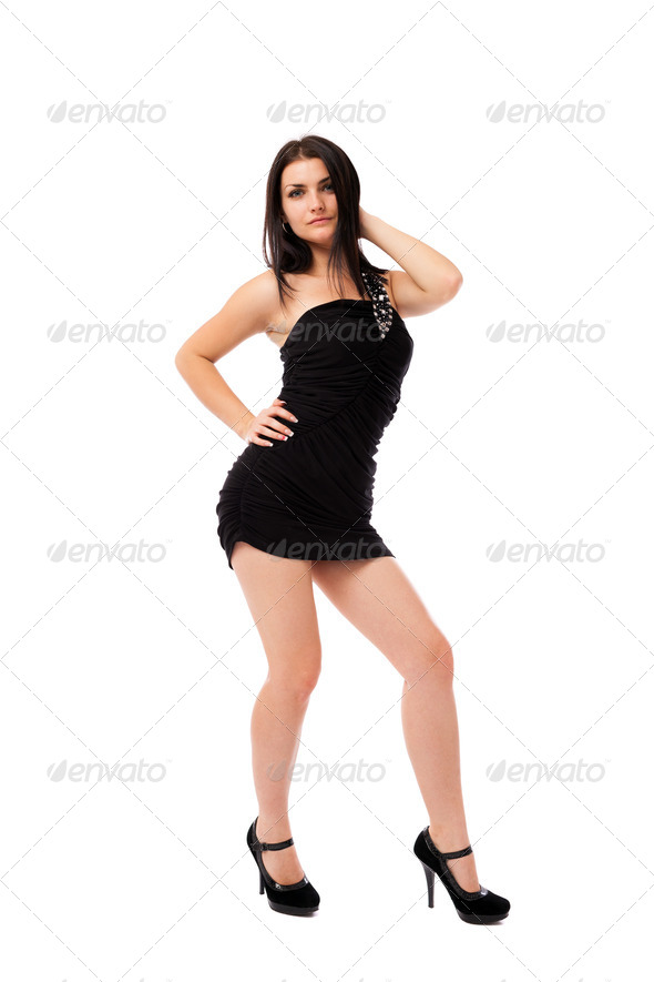 Beautiful woman wearing black dress - Stock Photo - Images