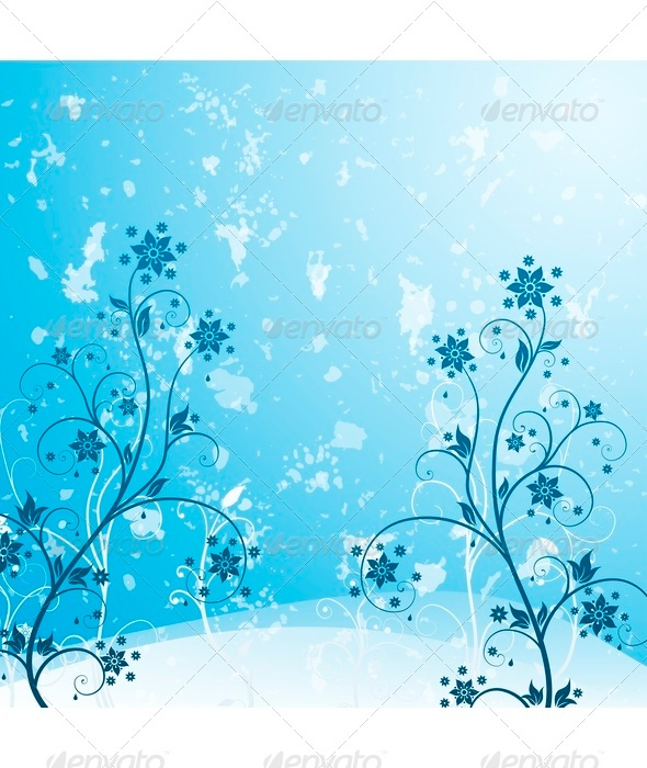 GraphicRiver Blue Grunge Flower 3549552