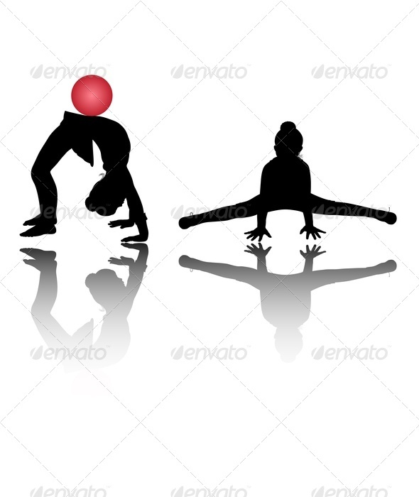 GraphicRiver Silhouettes of Girl Gymnasts 3569181