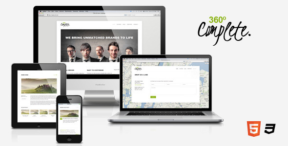ThemeForest 360��complete �C Responsive HTML5 Template Site Templates Creative 3569848