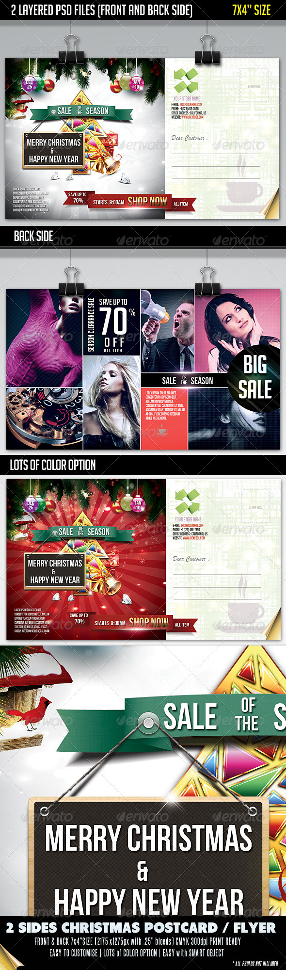 GraphicRiver Christmas Sale Postcard-Front & Back 3375504