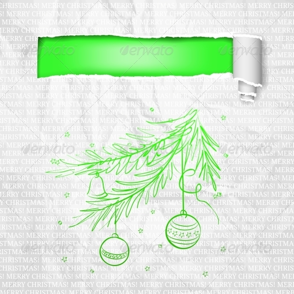 GraphicRiver Christmas Branch and Paper 3570649