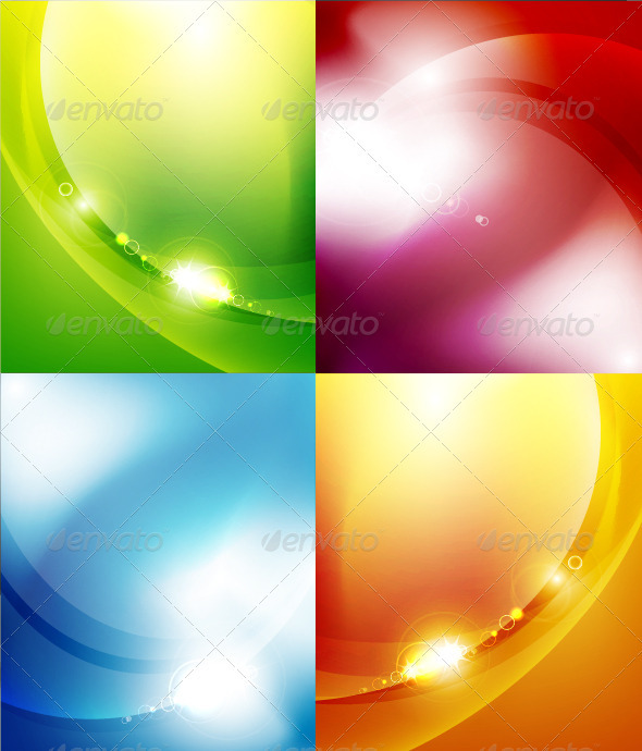 GraphicRiver Glowing Wave Background Set 3570716