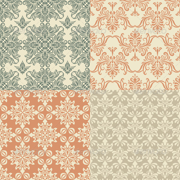 GraphicRiver Vector Seamless Vintage Wallpaper Patterns 3571388