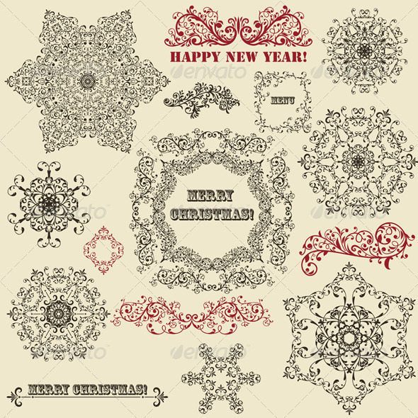 GraphicRiver Vintage Floral Design Elements and Snowflake 3571414