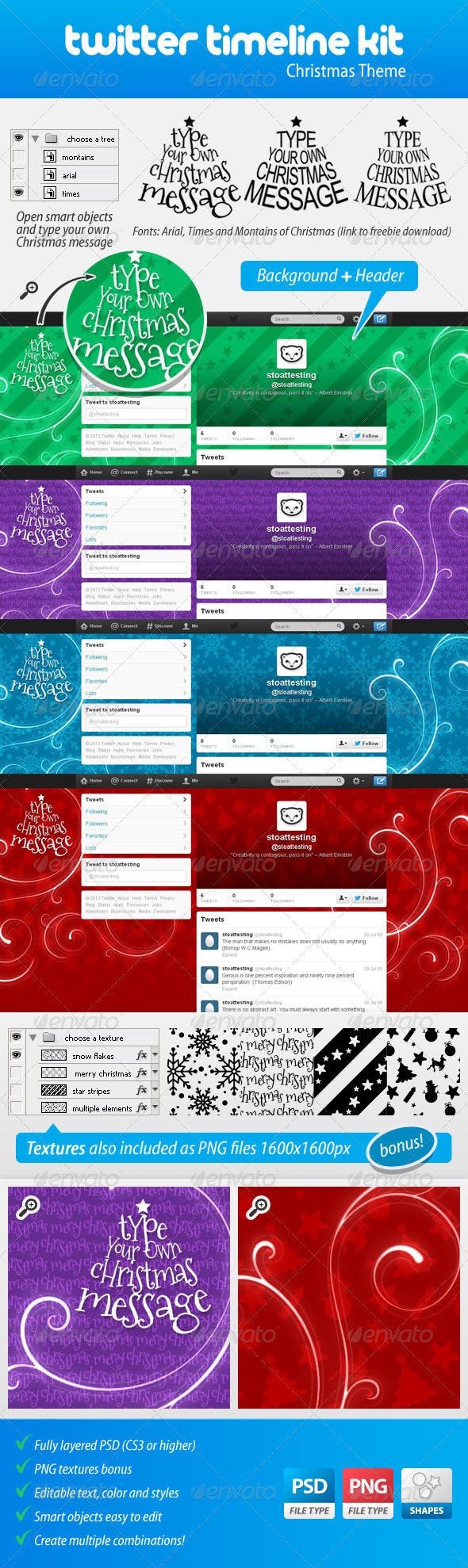 GraphicRiver Twitter Background Kit Christmas Theme 3571494