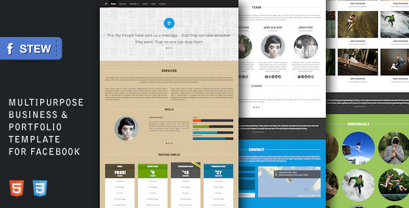 ThemeForest Stew Multipurpose Facebook Template for Creatives 3571496