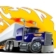 Vector Cartoon Semi Truck. One-Click Repaint - GraphicRiver Item for Sale