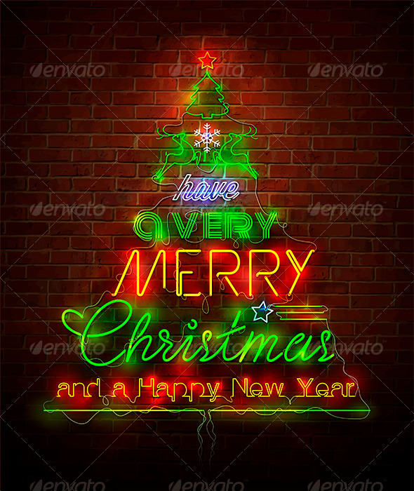 GraphicRiver Christmas Neon Sign Against Red Wall 3571793