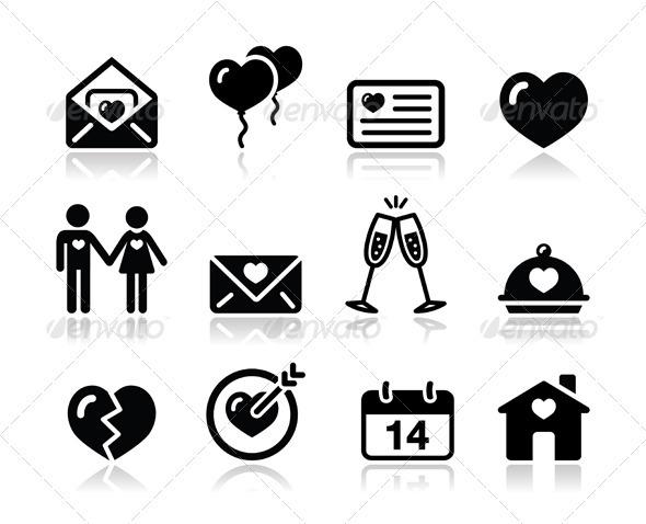 GraphicRiver Love Valentine Black Icon Set 3571824