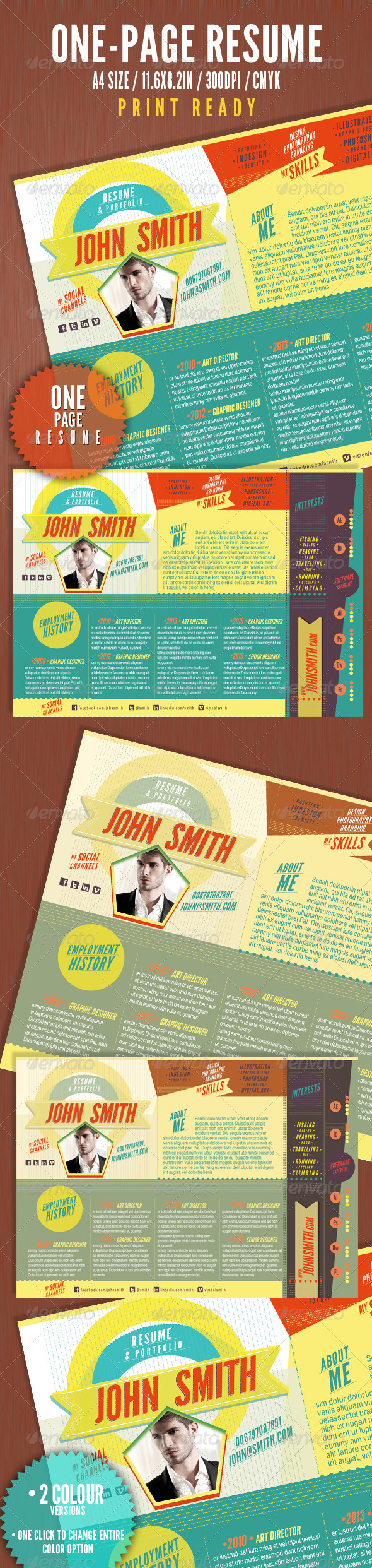 GraphicRiver The One Page Resume 3287989